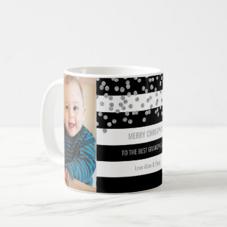 Black Stripes Silver Photo Best Grandpa Christmas Coffee Mug