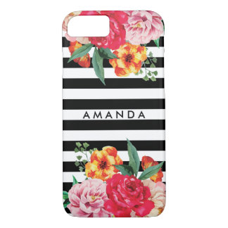 Black stripes Watercolor Peony Flowers YOUR NAME Case-Mate iPhone Case