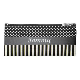 Black Stripes, White Polka Dot Name Monogram Pencil Case