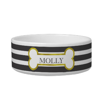 Black Stripes with Gold Bone Personalized Pet Bowl