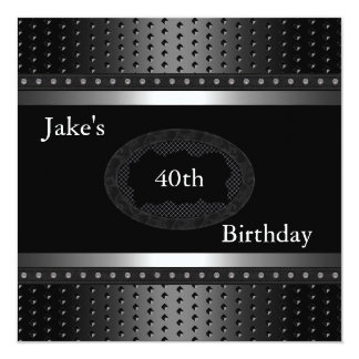 Black Studs 40th Birthday Party Silver Mens Card