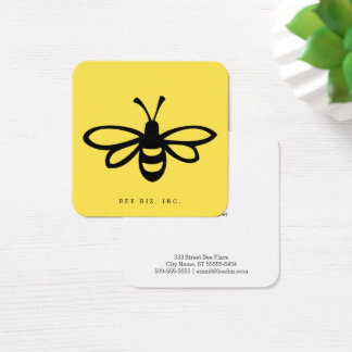 Black Stylized Bee Illustration on Yellow Square Business Card