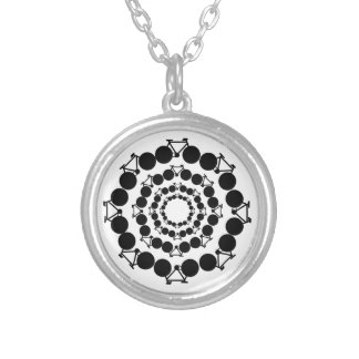 black stylized bikes in circles silver plated necklace
