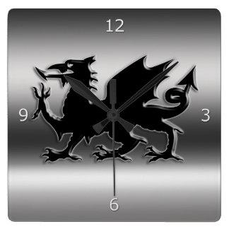 Black stylized Welsh Dragon on metallic-look Square Wall Clock
