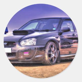 Black Subaru Impreza WRX STi Classic Round Sticker