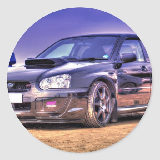 Black Subaru Impreza WRX STi Round Sticker