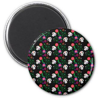 black sugar skull 2 inch round magnet