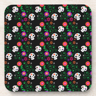 black sugar skull beverage coasters