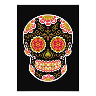 "Black Sugar Skull Black 5"" x 7"" Invitation"