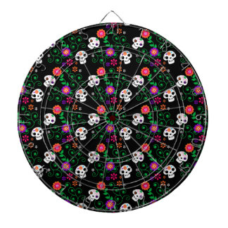 black sugar skull dart board