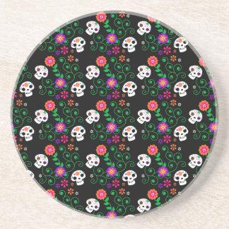 black sugar skull drink coaster