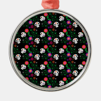 black sugar skull metal ornament