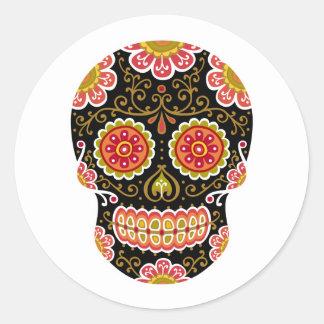 Black Sugar Skull Round Sticker