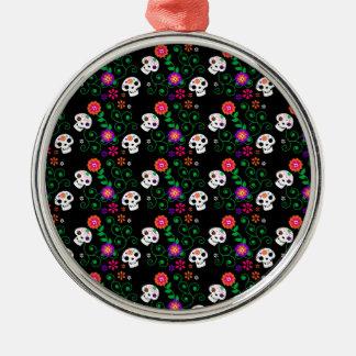 black sugar skull Silver-Colored round ornament