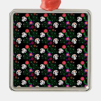 black sugar skull Silver-Colored square ornament