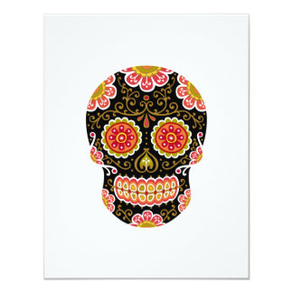 "Black Sugar Skull White 4.25"" x 5.5"" Invitation"