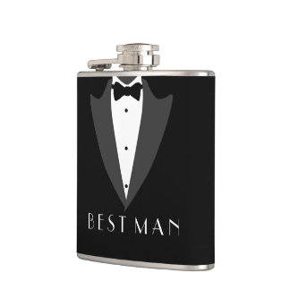 Black Suit and Bow Tie Hip Flask