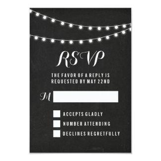 """Black Summer String Light Wedding 3.5"""" X 5"""" Invitation Card"""