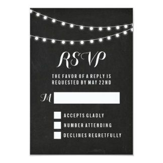 Black Summer String Light Wedding Card