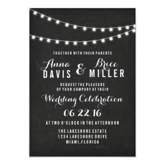Black Summer String Light Wedding Invites