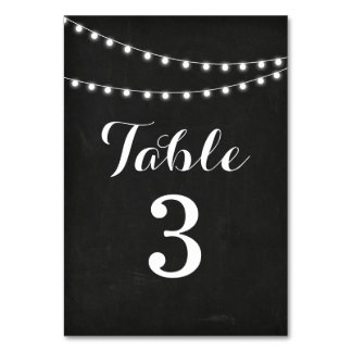 Black Summer String Light Wedding Table Numbers Table Cards