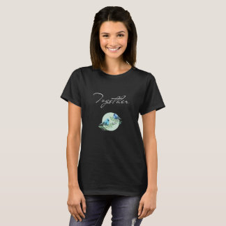 Black summer T-shirt with two bluebirds