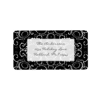 Black Sunflower Damask Wedding Address labels
