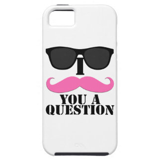 Black Sunglasses Pink I Moustache You a Question Case For The iPhone 5