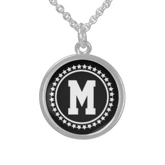 Black Superstar Monogram Sterling Silver Necklace