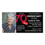 Black Surprise 70th Birthday Party Photo Invite Photo Card Template