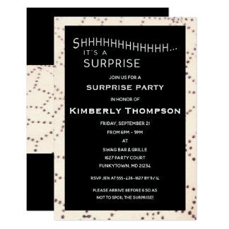 Black Surprise Birthday Custom Age Invitation