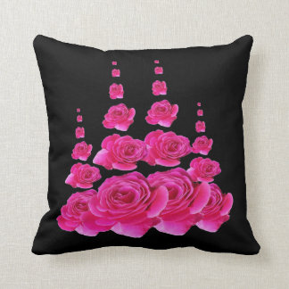 BLACK SURREAL TOWERS OF  FUCHSIA PINK ROSES THROW PILLOW
