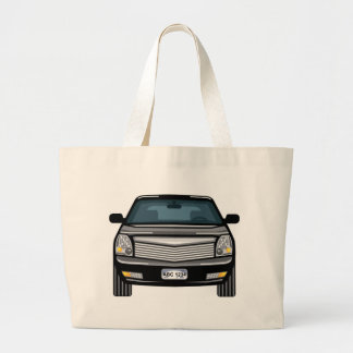 Black SUV front view Large Tote Bag
