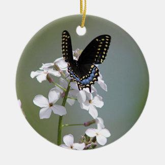 Black swallowtail butterfly ceramic ornament