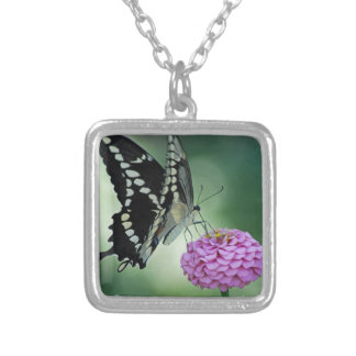 Black Swallowtail Butterfly on a Pink Flower Silver Plated Necklace
