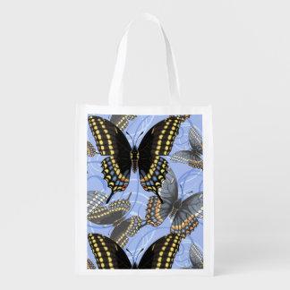 Black Swallowtail Butterfly Swirls Reusable Grocery Bag