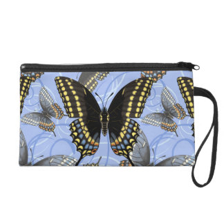 Black Swallowtail Butterfly Swirls Wristlet Clutch