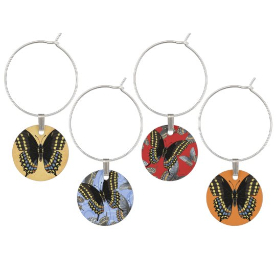 Black Swallowtail Butterfly Wine Glass Charms