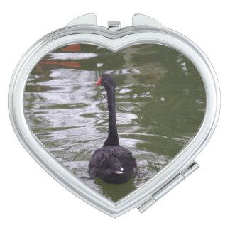 Black Swan Heart Compact Mirror