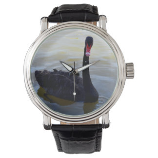 Black_Swan,_Mens_Vintage_Leather_Watch. Wristwatch