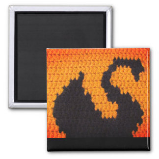 Black Swan Silhouette and Sunset Crochet Print on Magnet