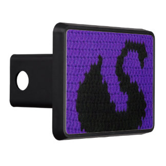 Black Swan Silhouette Purple Crochet on Trailer Hitch Cover