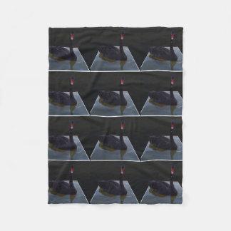 Black Swan Swimming In Dimensional Pond, Fleece Blanket
