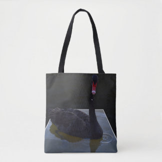 Black Swan Swimming In Dimensional Pond, Tote Bag