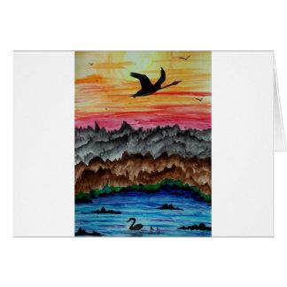 Black swans at sunset card