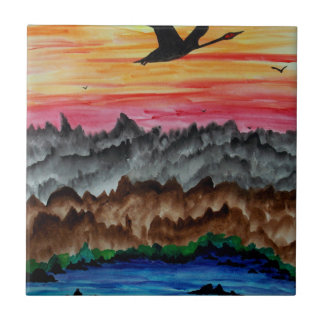 Black swans at sunset tile