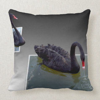 Black Swans Swimming In Dimensional Ponds, Throw Pillow