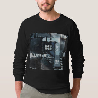Black Sweatshirt with Grey-SCale Painting 'Blues'