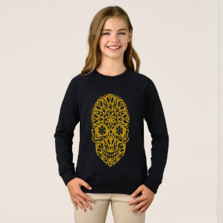 Black Sweatshirt with skull ornament- snowflake