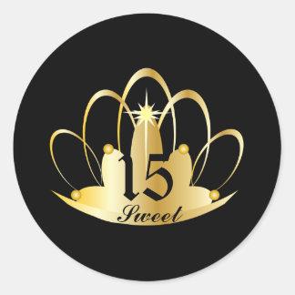 Black Sweet 15 Tiara Sticker-Customize Round Sticker
